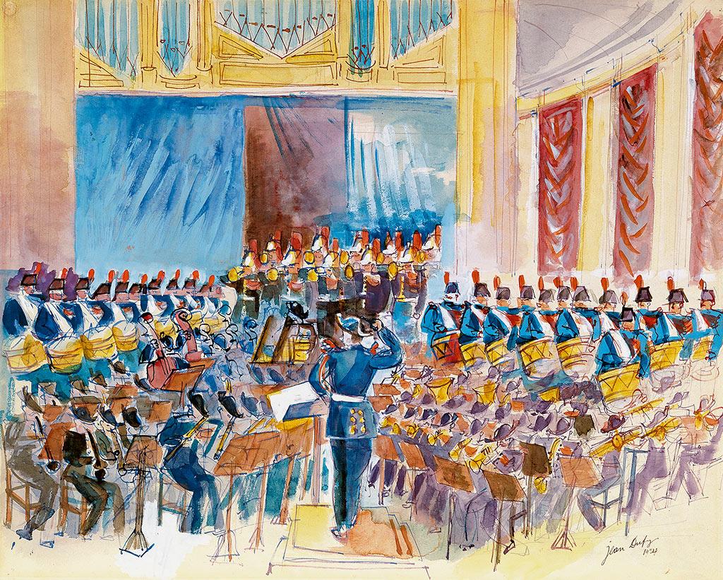 Der Musikkorps der Garde Républicaine unter Guillaume Balay im Theather des Champs-Elysées, 1924